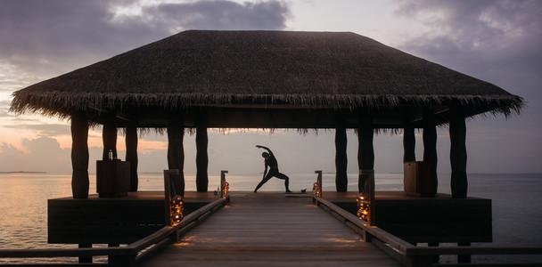 Yoga at a luxury tourist destination