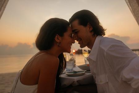 Couple on honeymoon at a beach resort