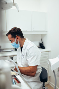Dentist treating a patient at dentistry