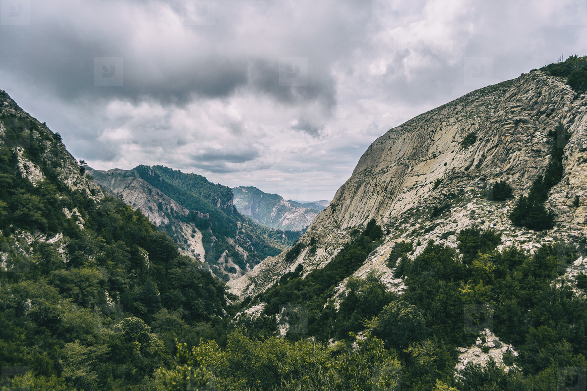 cloudy day in the mountains of the natural park of the ports  in tarragona spain