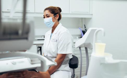 Female dentist in dental clinic
