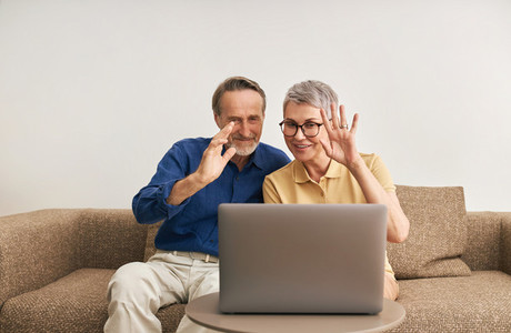 Happy senior couple waving while looking at laptop computer