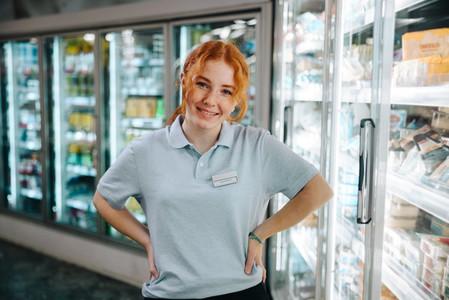 Trainee employee in a supermarket