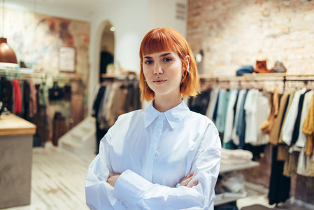 Confident fashion store owner