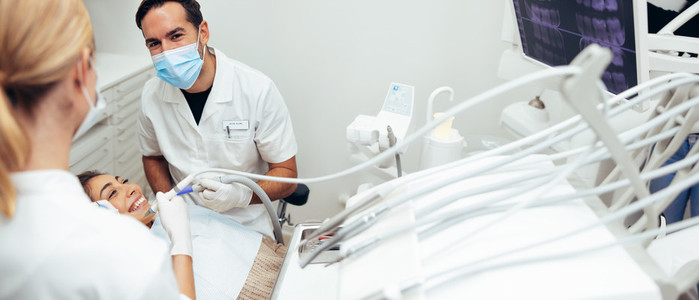 Dentists during a dental treatment