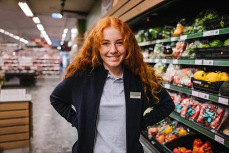 Young hypermarket employee
