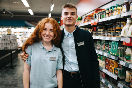 Trainee employees of supermarket