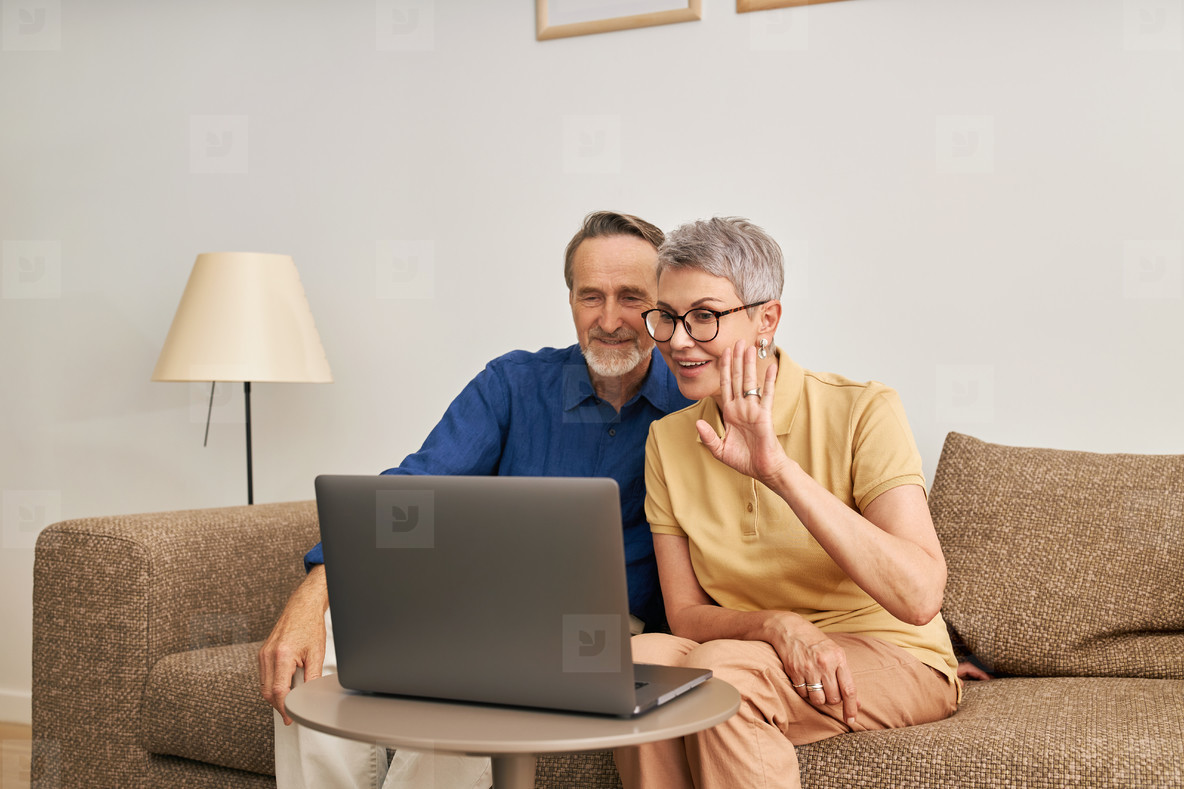 Cheerful senior couple using a laptop for video calling from the living room  Woman and man sitting