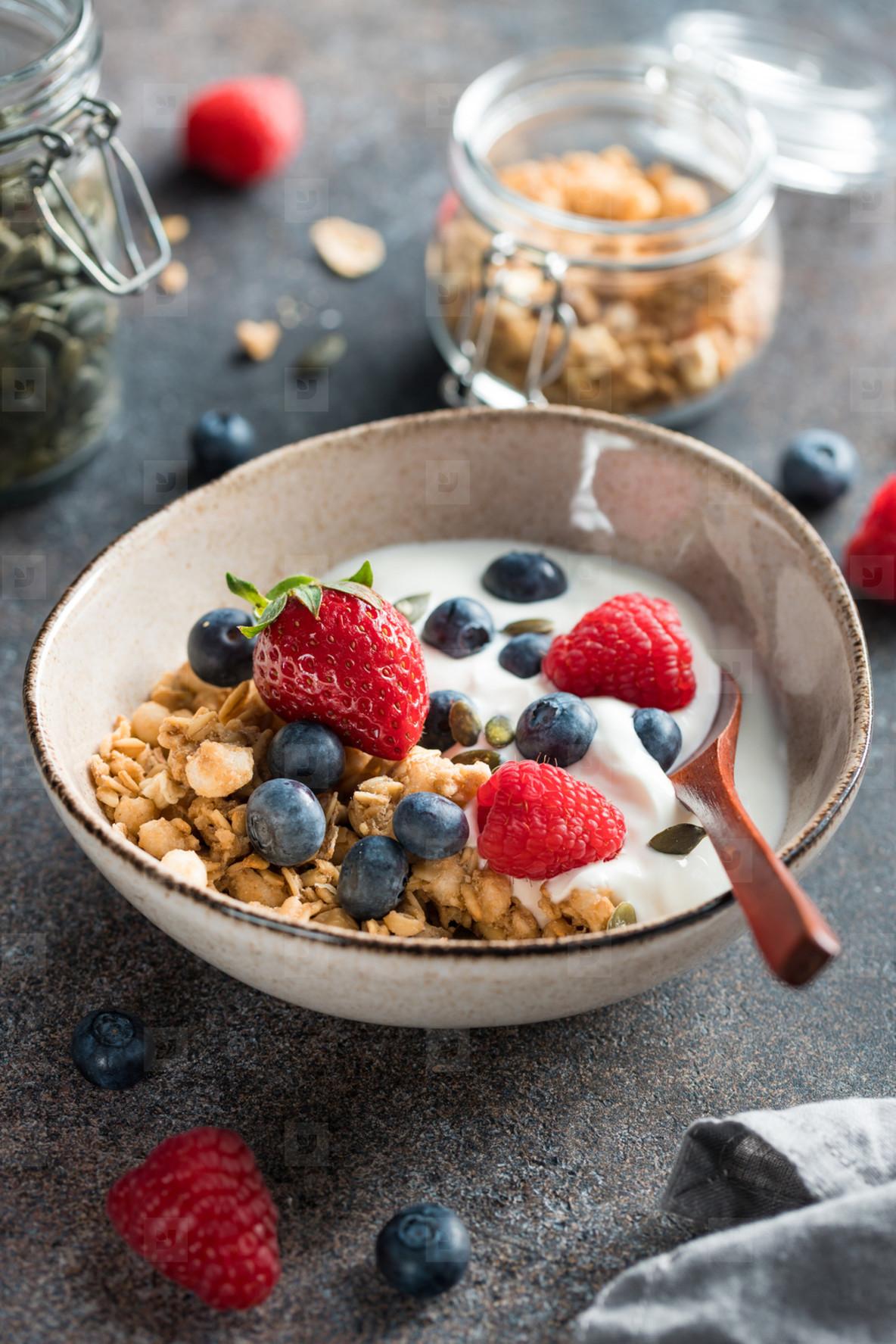 Healthy breakfast  cereal with berries and yogurt