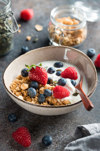 Healthy breakfast  cereal with berries and yogurt