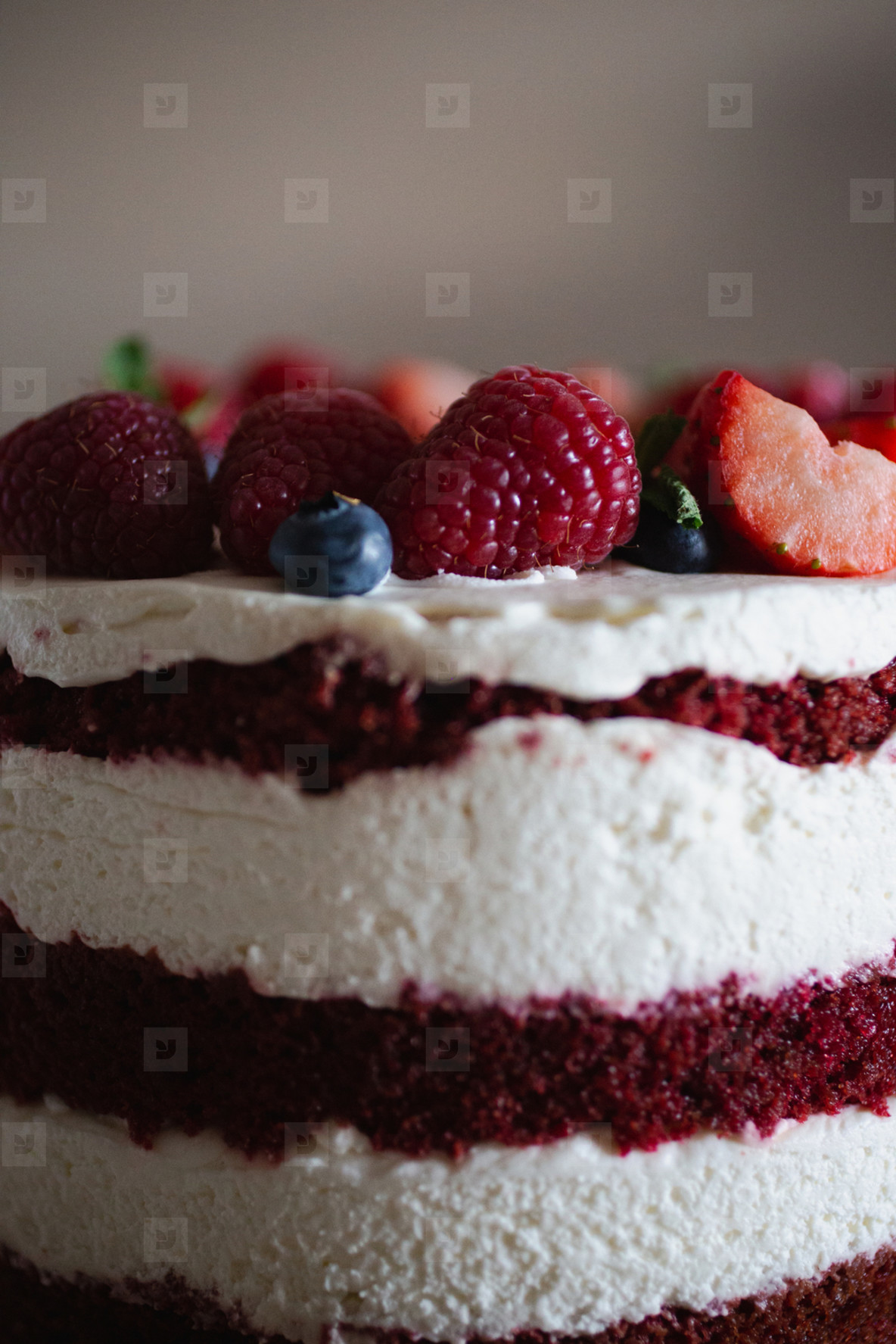 Bright and delicate sweet delicious cake with berries