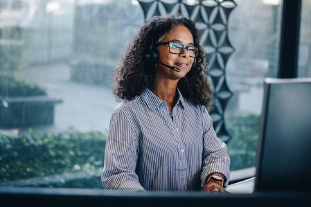 Woman call center executive at work