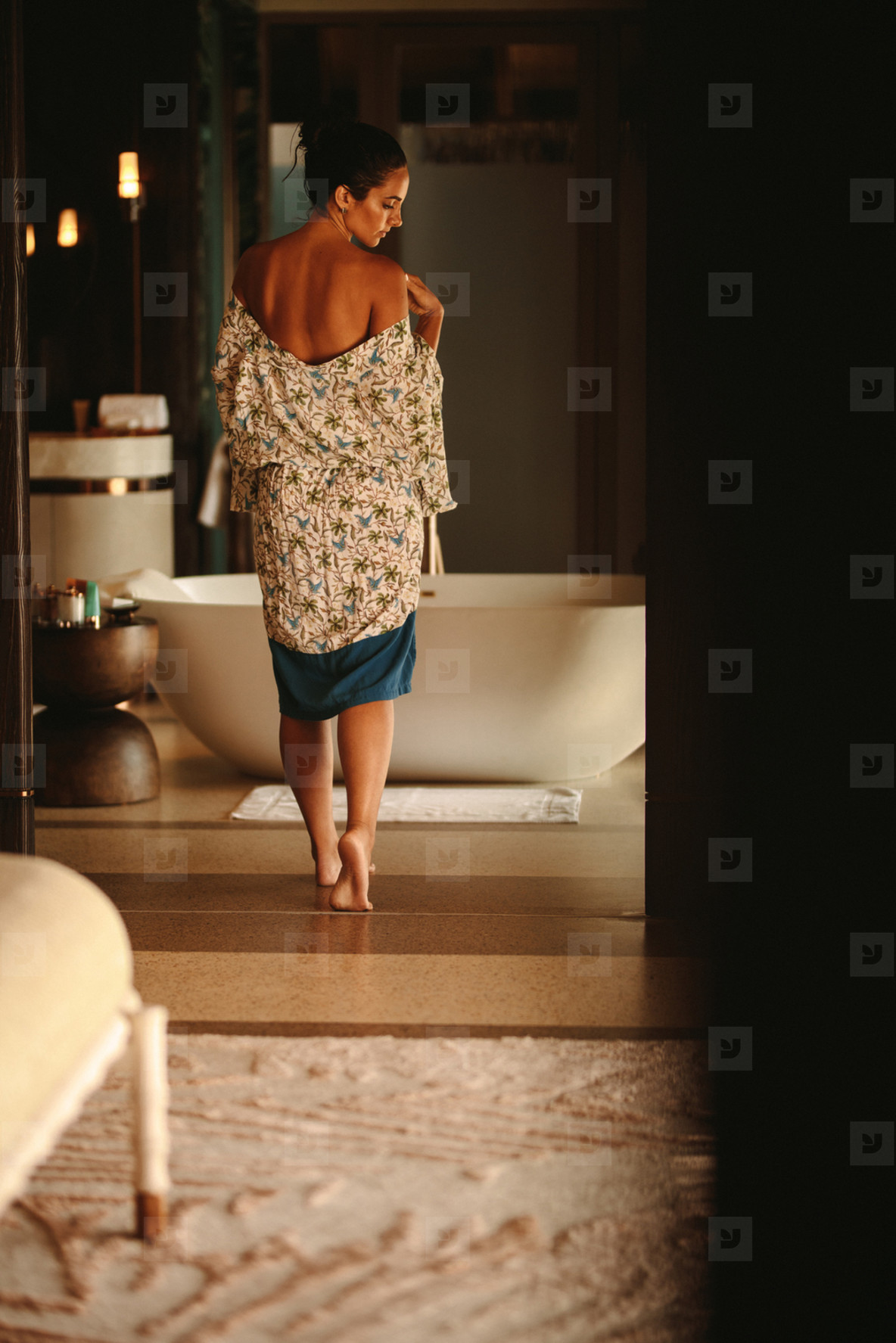 Woman at a luxury spa for a bath
