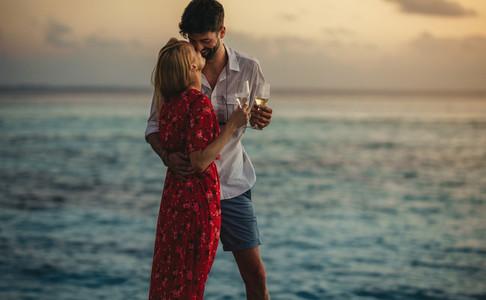 Romantic couple on a honeymoon vacation