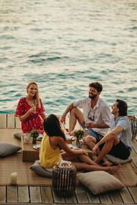 Friends enjoying vacation at a sea resort