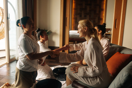 Women at a massage session in a spa