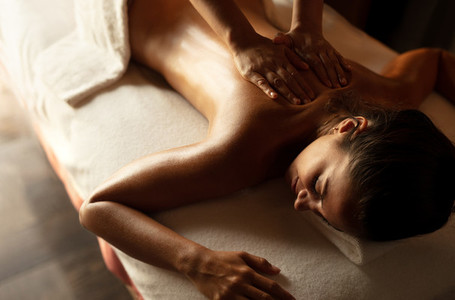 Woman getting massage at a spa