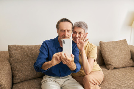 Senior couple making video call while sitting on a sofa in living room