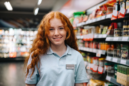 Female trainee in a supermarket