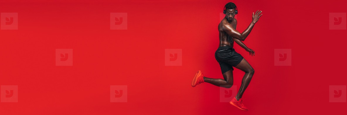 Fit african man exercising