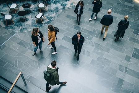 Crowd of people in modern