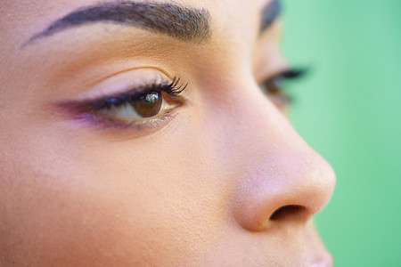 Close up portrait of beautiful young mixed girl