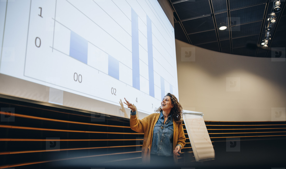 Businesswoman delivering a presentation