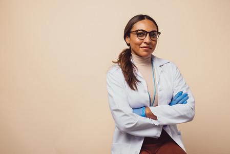 Confident female physician