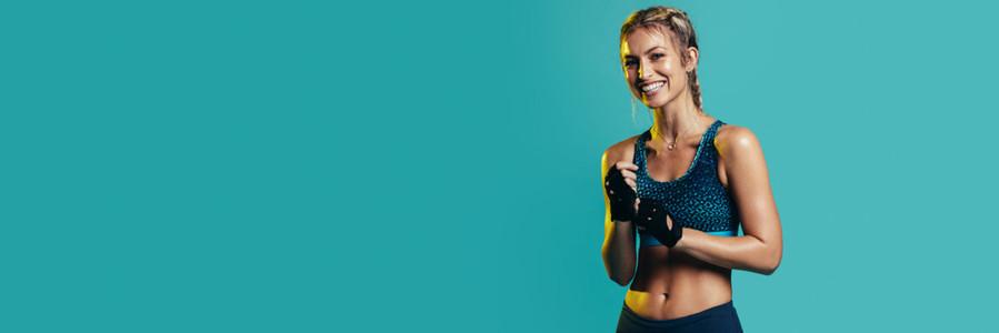 Happy woman in sports