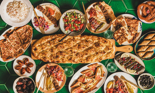 Muslim Ramadan iftar dinner with Turkish typical foods copy space
