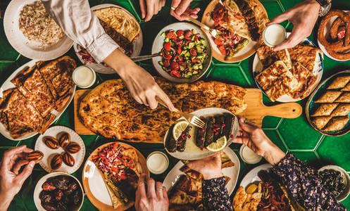 Muslim traditional Ramadan iftar