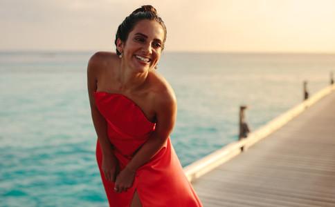 Woman on holiday at a sea resort