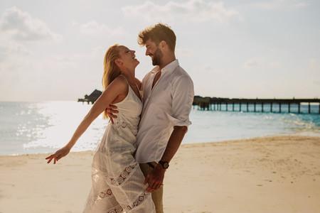 Couple enjoying summer vacation at a sea resort