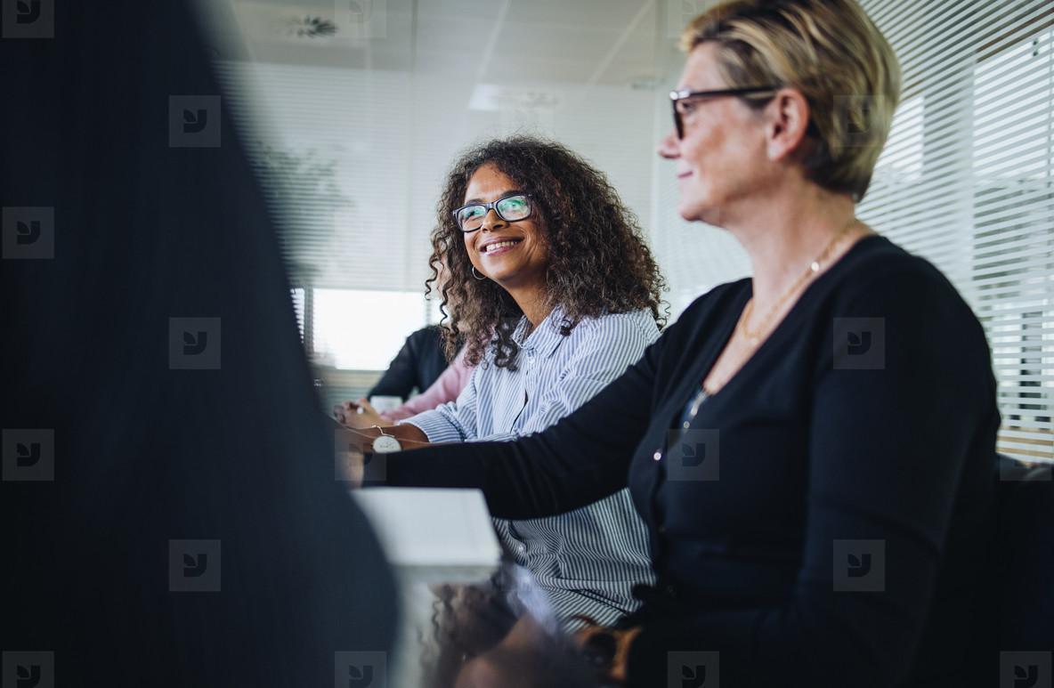 Businesswoman in boardroom meeting
