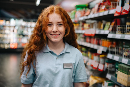 Woman on part time job at grocery store