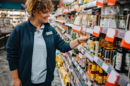 Woman working in supermarket