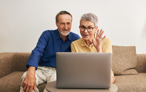 Senior couple using laptop computer for online conversation