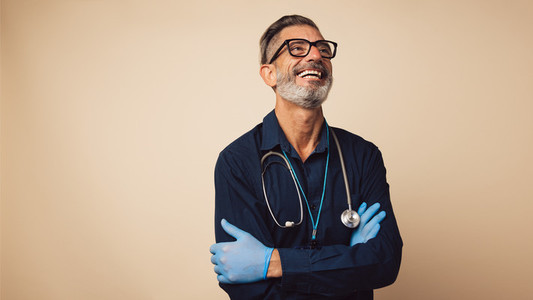 Happy looking male doctor