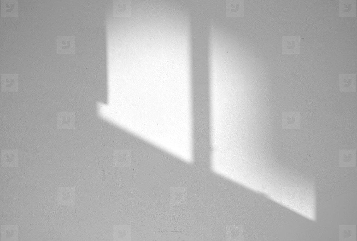 Window natural shadow overlay effect on white texture background