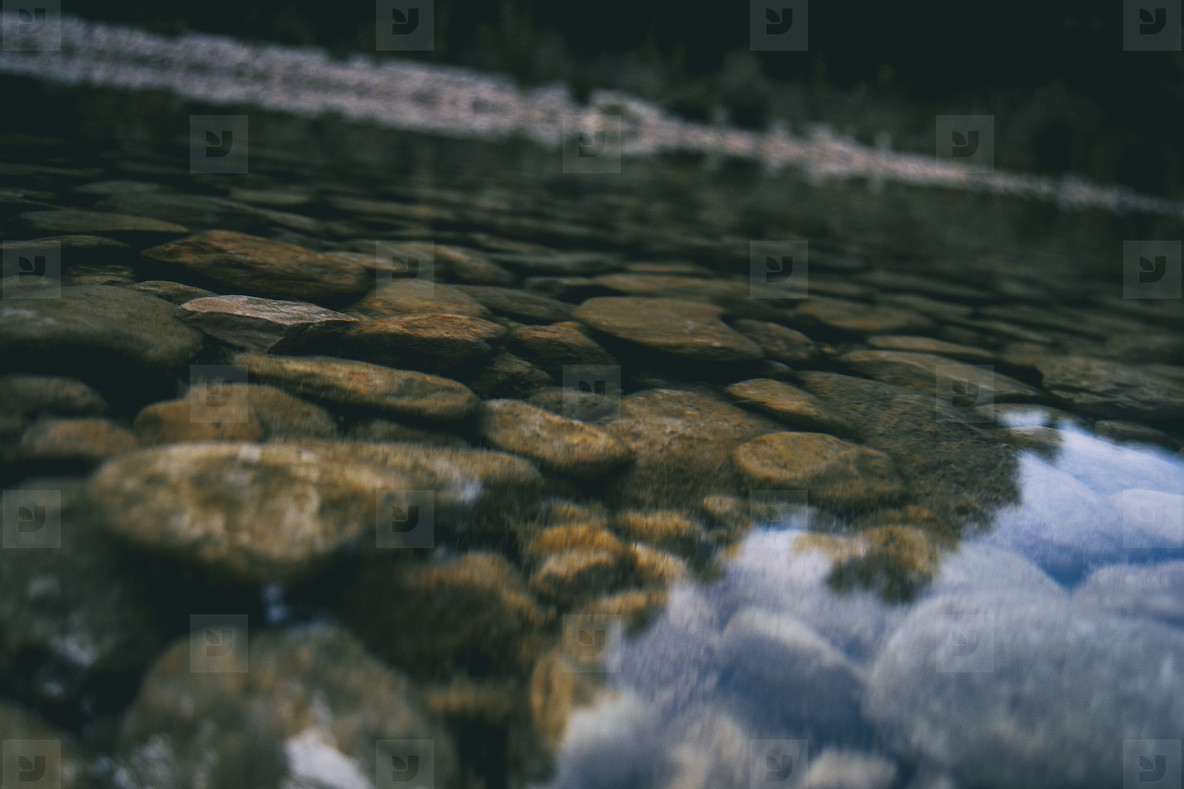 calm stream with many stones on the path