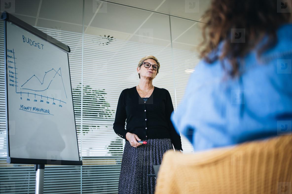 Senior businesswoman giving presentation