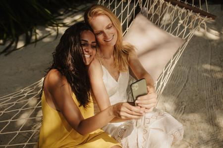 Women on a holiday taking selfie
