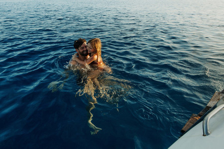 Enjoying a swim in the middle of the ocean