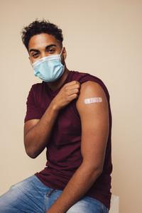 Man received a covid vaccine shot