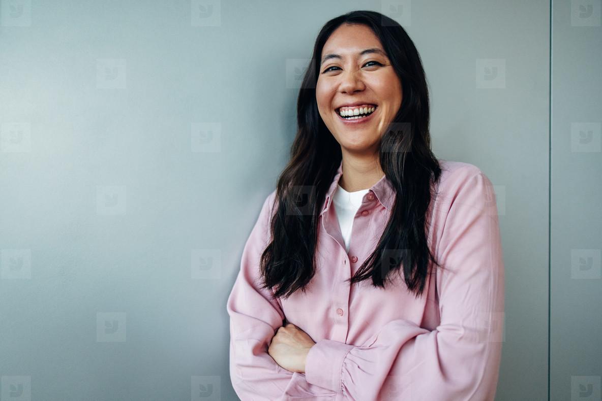 Portrait of a positive young businesswoman