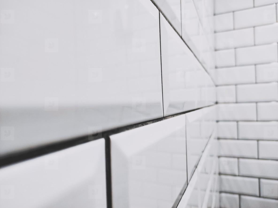 White and black shine brick wall