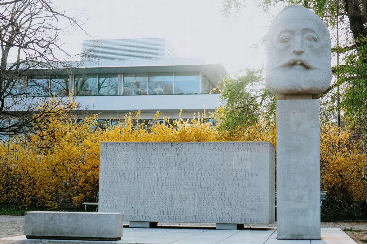 Gottfried Keller Denkmal Statue  Enge  Switzerland