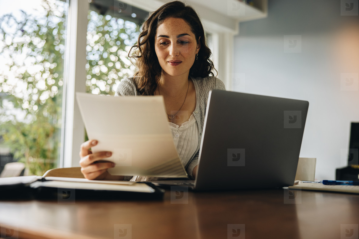 Woman reading some document