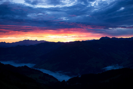 Fiery dawn in the mountains