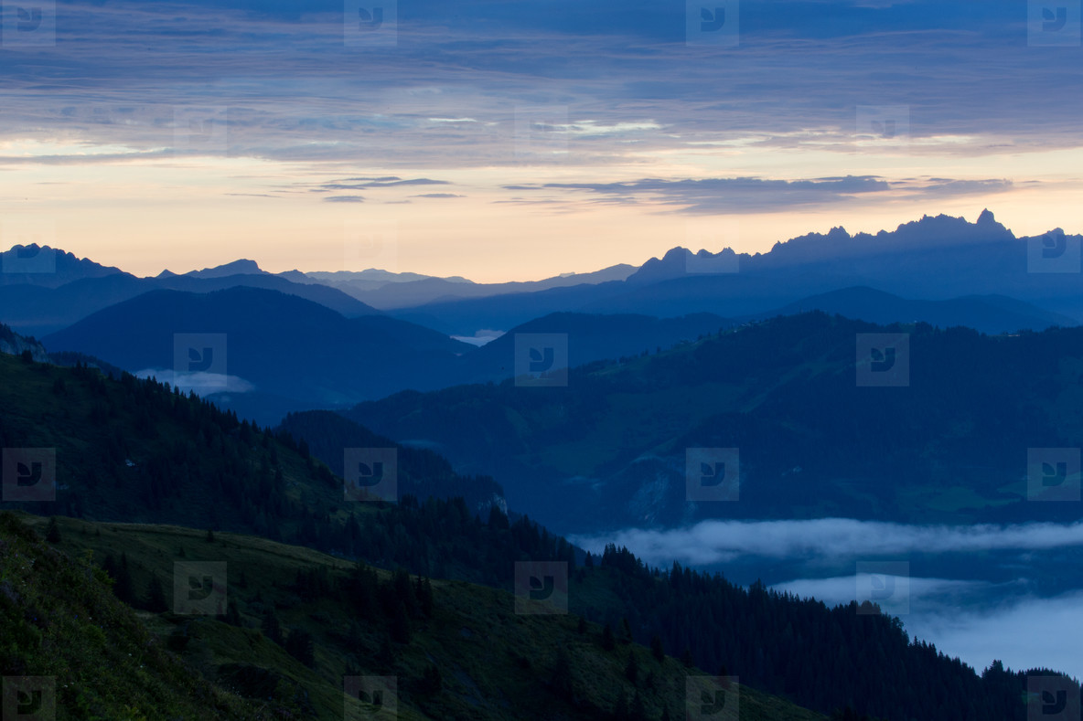 Morning landscape in the mountai